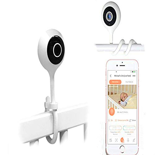 Angelbliss Baby Monitor Video Realtime 1080HD WiFi Camera,Regolabile per culla,con sensore di Umidità e Temperatura,Allarme de Pianto e Movimento,Archiviazione SD,Applicazione iOS&Android