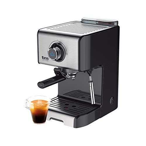 TM Electron TMPCF101 cafetera Espresso Manual con 15 Bares de presión, 1200W, depósito 1,2 L, espumador de Leche, 3 Funciones, Fabricado en Acero Inoxidable