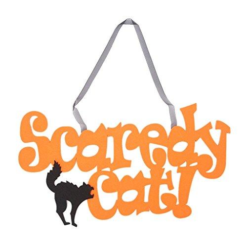 Senoow Halloween Non Woven Zeichen Scaredy Katze Wand Tür Hängen Anhänger Dekorationen Handwerk (Handwerk Hängen Halloween Tür)