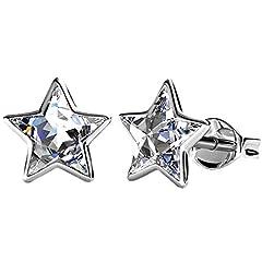Idea Regalo - Piccoli orecchini a perno a forma di stella in argento con cristalli Swarovski, placcati al rodio, idea regalo per donna o ragazza