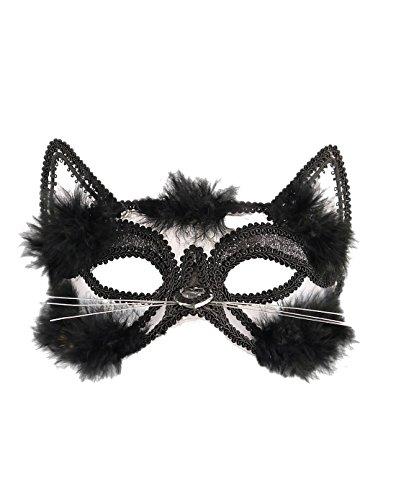 wachsene Halloween Cat Eye Maske mit Schwarzem Fell und Trim Unisex Party Zubeh�r One Size ()