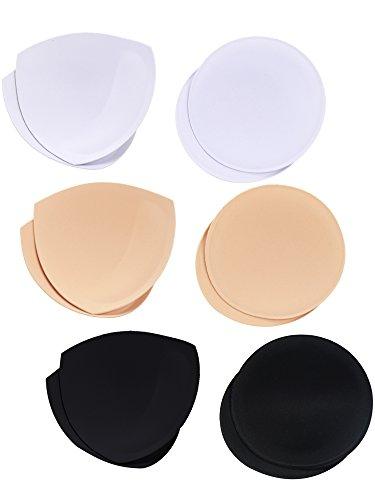 6 Pares Almohadillas de Sujetador Rellenos de Insertos de Empuje de Sujetador, 2 Formas, 3 Colores