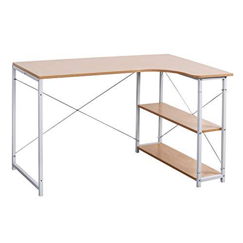 WOLTU TSB06hei Bureau d'ordinateur table de bureau à domicile station de travail en bois et acier,environ 120x74x71,5 cm,12,8kg