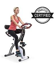 KLAR FIT X-Spline • Cyclette Multifunzione • Allenamento Aerobico in Casa • Tiranti Flessibili • Trazione a Cinghia • Pieghevole • Bianco