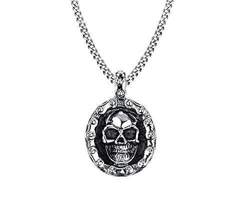 Vnox acier inoxydable rondes hommes crâne collier noir argenté punk biker bijoux gothique,chaîne gratuite