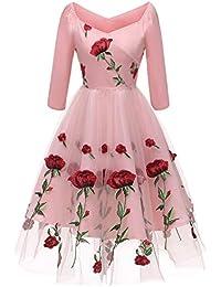 020309e2578b Molly Moda Vestito Midi da Cerimonia in Tulle Ricamato Rose con Scollo  Bardot
