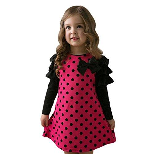 feiXIANG Kleinkind Kleid Kinder Kleid Baby Prinzessin Kleid Mädchen dot kleider Bow Dress Kleidung Langarm A-Linie Kleid (120, Heiß Rosa) (Bow Ärmeln Kurzen)