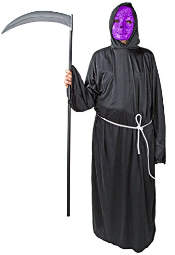 Henker Kutte Kapuze Maske Grim-Reaper Kostüm Robe Mönch-Kutte -
