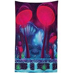 Abakuhaus Pilz Wandteppich und Tagesdecke Pilze Leuchtende Farbenaus Weiches Mikrofaser Stoff 140 x 230 cm Digitaldruck Technik Blau roten