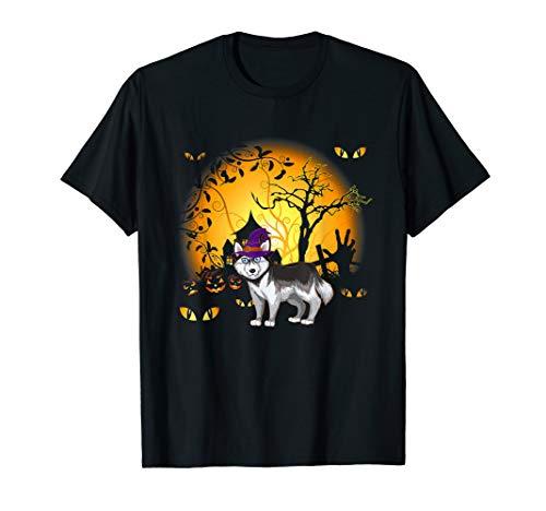Lustiges Husky Sibir Halloween Kostüm Tee - Hausgemachte Skelett Kostüm