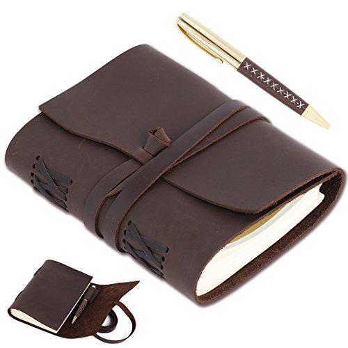 Notizbuch Leder, Vintage Leder Tagebuch, Kommt mit stilvollen Stift, Perfektes Geschenk für Art Sketchbook, B6 Ungekleidetes Papier 18x13cm, Reisetagebuch & Notizbücher