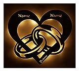 Schlummerlicht24 3d aus Holz Led Licht Schlaf-Zimmer Lampe Motiv Design Herz-en Ring-e Partner Geschenk-e Für-s mit Name-n Datum zum Jahrestag Hochzeit Verlobung Ich Liebe Dich Unendlich Männer Frauen