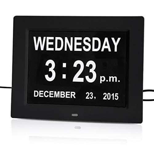LOFAMI Küche Haushalt Wohnen Wetterstationen 8-Zoll-elektronischer Wecker Mehrsprachige Erinnerungsuhr 12/24 Stunden Anzeige von Monats- und Tageskalender Wetterstationen (Color : Black)