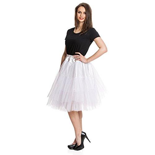 Kostümplanet® Petticoat - weißer, knielanger midi Unter-Rock Deluxe für Damen mit elegantem 3-lagigen Tüll Tutu und Gummiband zum Verschließen in der Größe (Roll Rock 1950er Outfits Jahre And)