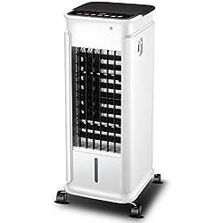 Portable Climatiseur Et Chauffe-Eau, sans Lame Silencieux Ventilateur Mobile Refroidisseur d'air Humidificateur avec Télécommete Et 4 Roues Multifonction Ventilateur-Blanc 33x36x74cm