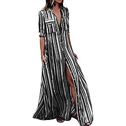 Faldas Largas Mujer Verano Hippies, Zolimx Moda Mujer Manga Larga Rayas Multicolor Botón Bohe Vestidos Playa Mujer Encaje Vestido Largo Traje (X-Large, Negro)