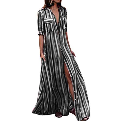 Faldas Largas Mujer Verano Hippies, Zolimx Moda Mujer Manga Larga Rayas Multicolor Botón Bohe Vestidos Playa Mujer Encaje Vestido Largo Traje (XX-Large, Negro)