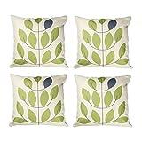 Topfinel Kissenbezüge Baumwolle Leinen Drucken Kissenhülle Zierkissenbezug für Couch Café Patio Büro 40 x 40 cm 4er Set Grüne Blatter