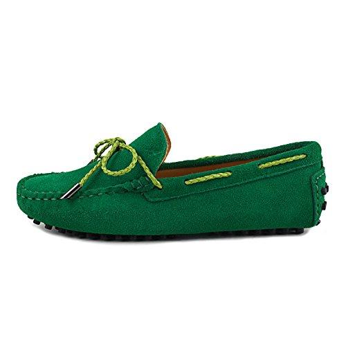 Shenduo Classic, Mocassins femme daim - Loafers multicolore - Chaussures bateau & de ville confort D7051 Vert