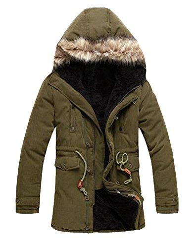 Brinny Männer Kapuzen-Pelz-warme Mäntel Oberbekleidung Winter Jacken Gefütterte Grün