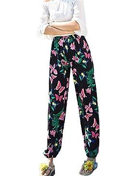 Mujeres Pantalones Harem De Floral Boho Pantalón Baggy Playa Verano Pantalones