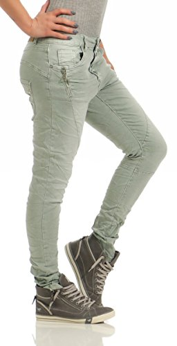 Fashion4Young 11424 LEXXURY Damen Jeans Röhrenjeans Hose Boyfriend Baggy Haremscut Damenjeans Slim-Fit (Khaki, XXL-44) -