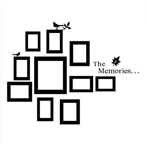 KiKa Monkey® PVC Schwarz Bilderrahmen Wandaufkleber Speicher Vinyl Abnehmbare Wandtattoos Rahmen Deko für Wohnzimmer (Wandtattoo Namen Monkey)