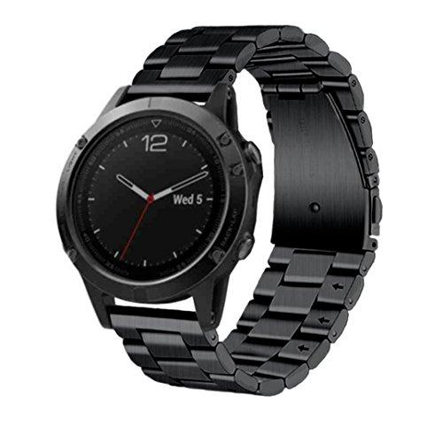 Preisvergleich Produktbild Sansee Echtes Edelstahl Armband Band Strap Milanese Edelstahl Uhrenarmband Armband für Garmin Fenix 5 Uhrenarmband (Schwarz)