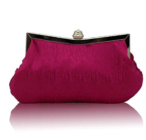 Borsa Intrecciato Strass Decorazione di Cerimonia Nuziale del Sacchetto di Sera Damigella D'onore Frizione rosa