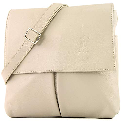 modamoda de - T63 - ital Umhänge-/Schultertasche Nappaleder, Farbe:Creme (Damen Elfenbein Handtasche)