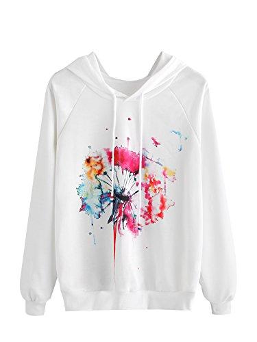 ROMWE Damen Kapuzenpullover mit Wasserfarben Aufdruck Langarm Kapuze Tunnelzug Pullover Hoodie Weiß S (Mädchen Langarm Tie Dye)