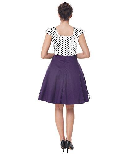ZAFUL Damen Elegant Cocktailkleid Polka Dots Ärmellos Partykleid Vintage Rockability Festliche Swing Kleider Violett