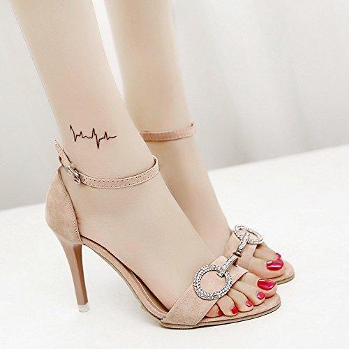 XY&GKSommer Sandalen Frauen Sommer Studenten ging mit einem feinen High-Heeled Schnalle mit Mode Sandalen, komfortabel und schön 34 apricot