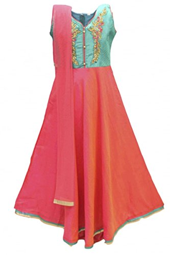 GCS2765 Coral und Teal Girl's Churidar Anzug Indian Bollywood Fancy Dress 32 (approx 8-9 (Anzug Fancy Dress)