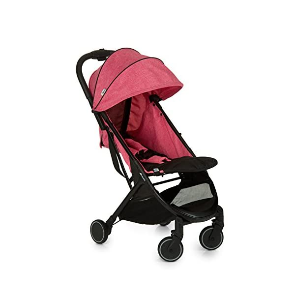 Hauck Swift One Hand, Compact Fold Pushchair with Raincover, Melange Pink/Black Hauck A sporty stroller with one-hand folding mechanism The comfortable seat has an adjustable backrest and adjustable footrest down to lying position - ideal even for newborns Lightweight aluminium frame - only 6.4kg 2