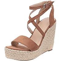 Sandalias para Mujer Pescado Boca Zapato de Playa Cuñas Romanas Hebillas de Cinturón Casual Zapatos Uniforme Calzado de Trabajo 12 CM 2019