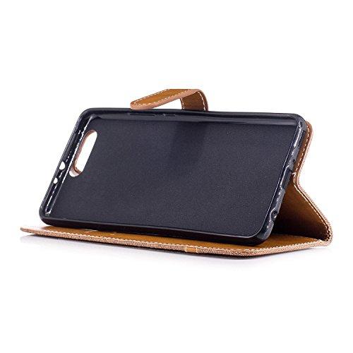 Custodia per Huawei P10 Plus, ISAKEN Flip Cover per Huawei P10 Plus con Strap, Elegante Bookstyle Contrasto Collare PU Pelle Case Cover Protettiva Flip Portafoglio Custodia Protezione Caso con Support Plain marrone