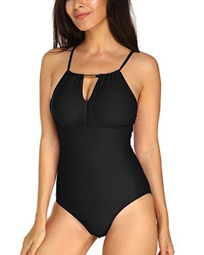 KISSLACE Damen Einteiler Badeanzug Badekleid Figurformende Große Größen Bademode Schwarz 892598 L=EU42