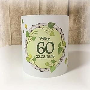 4er Set Tischlicht Tischlichter Kranz Birke Laub Blätter runder Geburtstag 40 50 60 70 80 90 Tischdeko personalisierbar grün