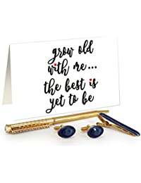 TiedRibbons® Best Valentines Gifts For Men Golden Cufflinks,Tiepin And Pen Combo Set With Valentine's Special...