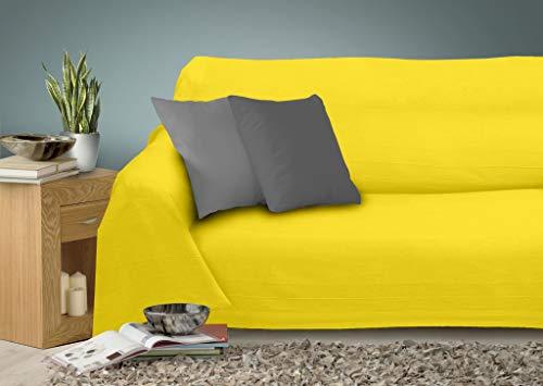 Miracle Home - Copriletto Multiuso Caiman, 100% Cotone, 220 x 260 cm, Colore: Giallo