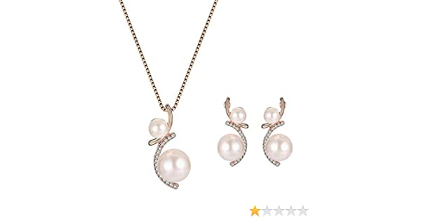 BIGBOBA Necklace Earrings Set Women Fashion Crystal Pendant Jewelry Decor Festival Gift