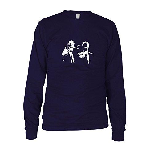 Vega Kostüm Vincent Fiction Pulp - Metal Gear Fiction - Herren Langarm T-Shirt, Größe: S, dunkelblau