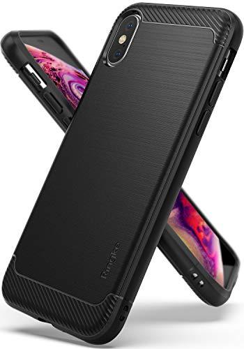 Ringke Onyx Custodia Compatibile con Apple iPhone XS Durevolezza Flessibile Antiurto Fibra di Carbonio Resistente Robusta Protezione Flessibile Antiscivolo Pesante TPU Custodia Cover iPhone X - Nero