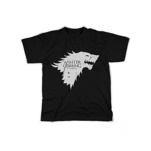 Männer T-Shirt mit Aufdruck in Schwarz Gr. M Winter is Coming Dragon Serie Design Boy Top Jungen Shirt Herren Basic 100% Baumwolle Kurzarm