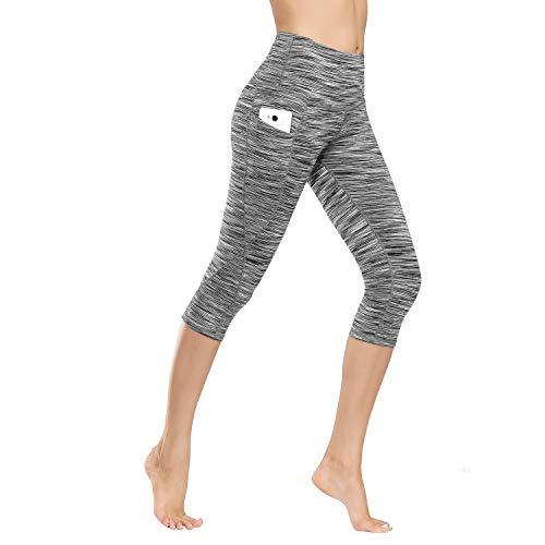 IceUnicorn Leggings Damen Lange Yogahose Sporthose Fitnesshose Laufhose 3/4 Training Tights mit Handytasche(3/4.Crushed Hemp, M)