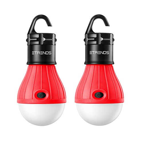2 Pack E-TRENDS® Portable LED Lantern Tent Light Bulb for Camping Hiking Fishing Emergency Light, Battery Powered Camping Equipment Gear Gadgets Lamp for Outdoor & Indoor (Red)