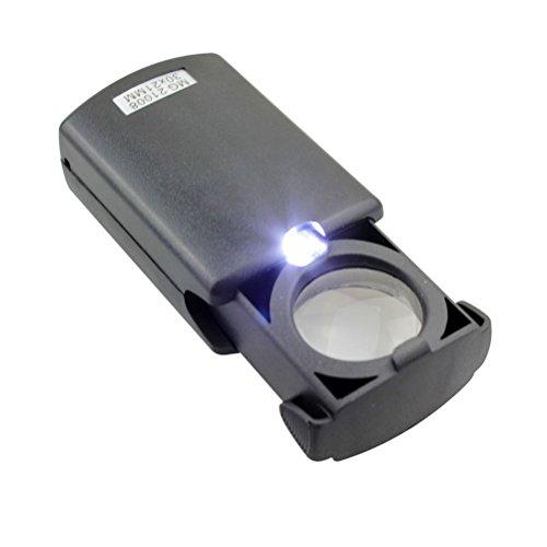 Tinksky Portable 30X21mm pieghevole LED illuminato gioielli Pull-tipo lente dingrandimento lente di ingrandimento lente Loupe Eye (nero)