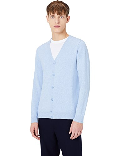 MERAKI Baumwoll-Strickjacke Herren mit V-Ausschnitt Blau (Ocean Blue)