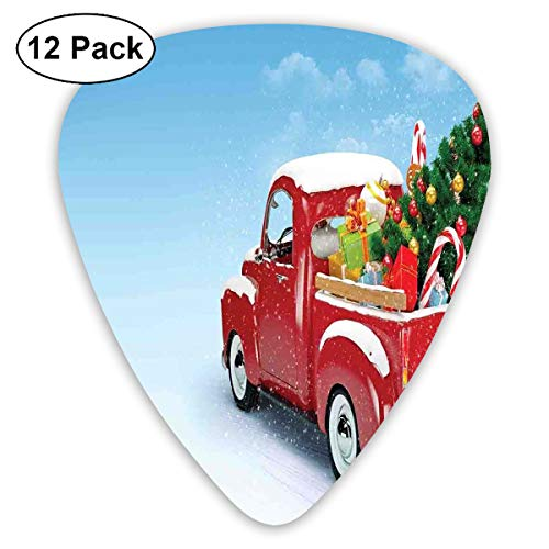 Guitar Picks12pcs Plectrum (0.46mm-0.96mm), Red Classical Pickup Truck With Tree Gifts And Ornaments Snowy Winter Day Image,For Your Guitar or Ukulele